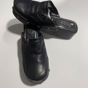 90 Slipon black leather clogs wood mule Platform